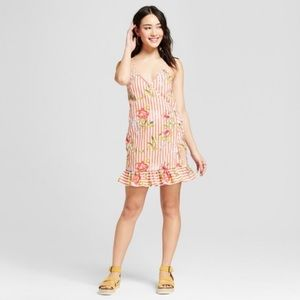 Anthro le kate Striped floral wrap dress md